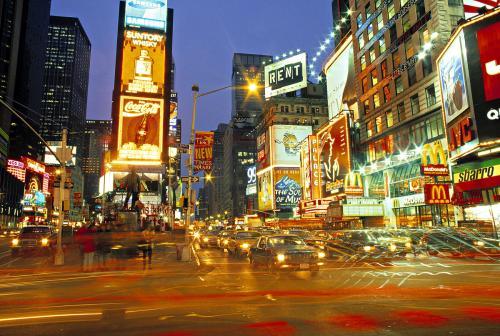 新日电动车在纽约时代广场上的亮相  发起全国节能挑战
